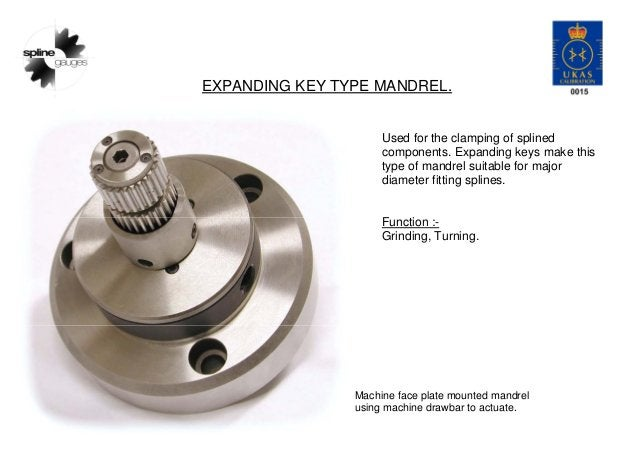 EXPANDING KEY TYPE MANDREL. Used for the clamping of splined components. Expanding keys make this type of mandrel suitable...