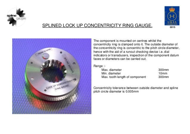SPLINED LOCK UP CONCENTRICITY RING GAUGE. The component is mounted on centres whilst the concentricity ring is clamped ont...