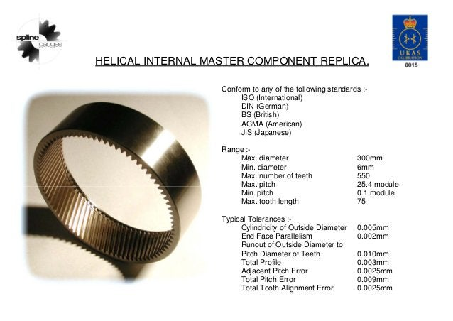 HELICAL INTERNAL MASTER COMPONENT REPLICA. Conform to any of the following standards :- ISO (International) DIN (German) B...