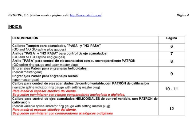 ESTEIRE, S.L. (visiten nuestra página web: http://www.esteire.com/) Página 4 ÍNDICE: DENOMINACIÓN Página Calibres Tampón p...