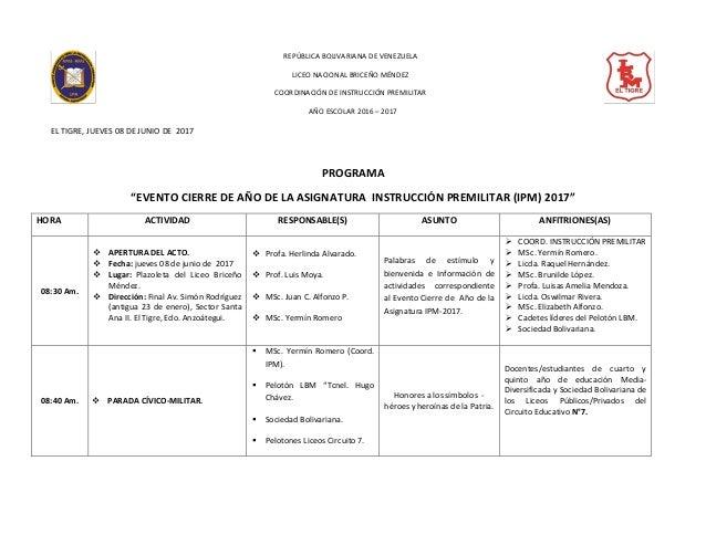 REPÚBLICA BOLIVARIANA DE VENEZUELA LICEO NACIONAL BRICEÑO MÉNDEZ COORDINACIÓN DE INSTRUCCIÓN PREMILITAR AÑO ESCOLAR 2016 –...