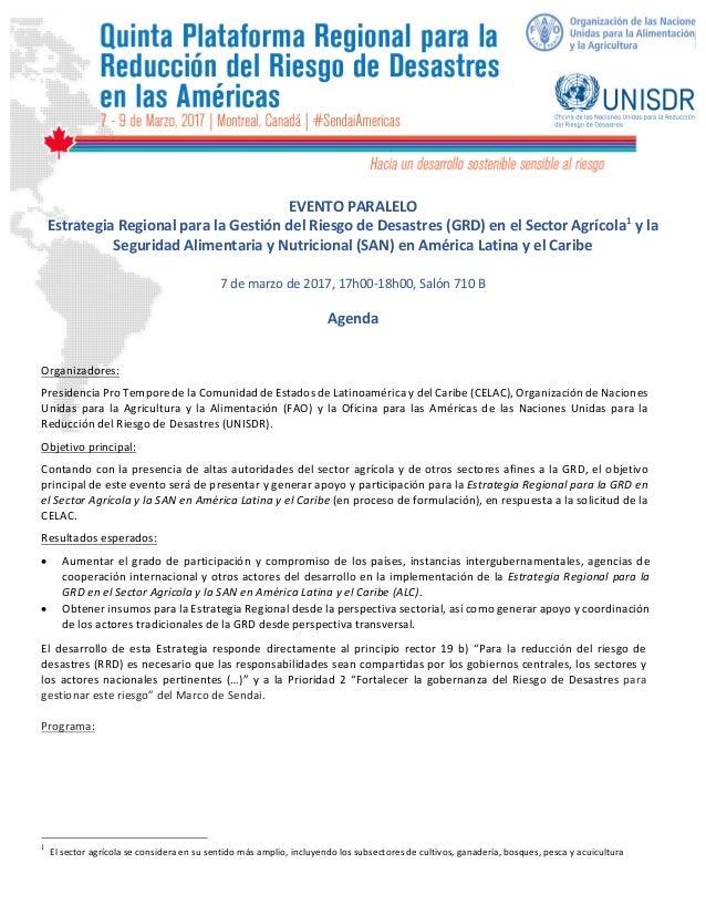 EVENTO  PARALELO     Estrategia  Regional  para  la ...