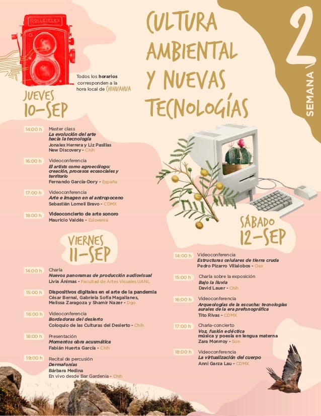 2 SEMANA Videoconferencia Arte e imagen en el antropoceno Sebastián Lomelí Bravo - CDMX Videoconcierto de arte sonoro Maur...