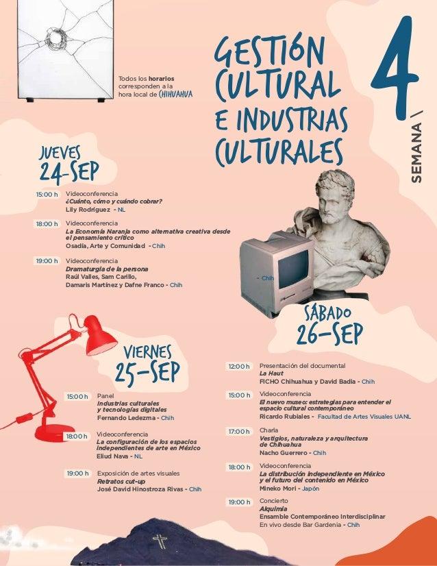 26-SEP SÁBADO 25-SEP VIERNES 24-SEP JUEVES Gestión Cultural e Industrias culturales Videoconferencia Dramaturgia de la per...