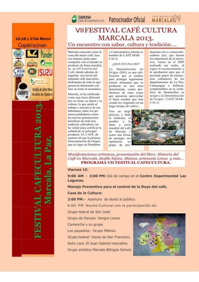 Programa festival café cultura marcala 2013