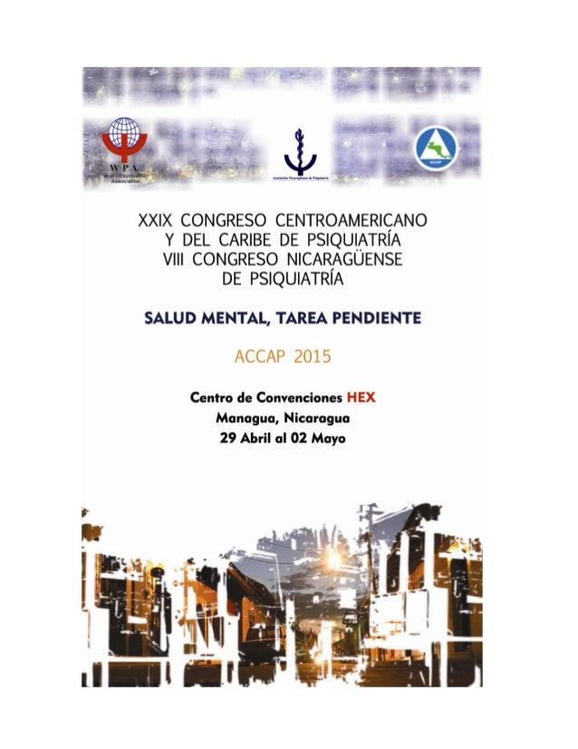 XXIX CONGRESO CENTROAMERICANO Y DEL CARIBE DE PSIQUIATRÍA. VIII CONGRESO NICARAGÜENSE DE PSIQUIATRÍA Salud Mental, Tarea P...