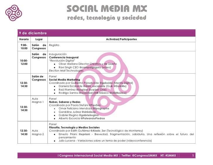9 de diciembreHorario     Lugar                                                 Actividad/Participantes9:00-     Salón de ...