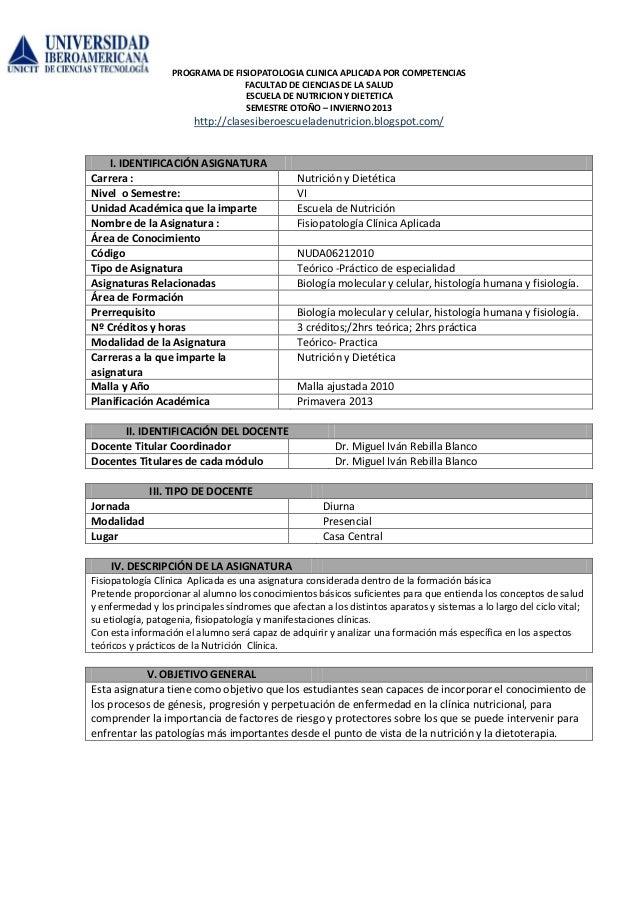 PROGRAMA DE FISIOPATOLOGIA CLINICA APLICADA POR COMPETENCIAS                                 FACULTAD DE CIENCIAS DE LA SA...