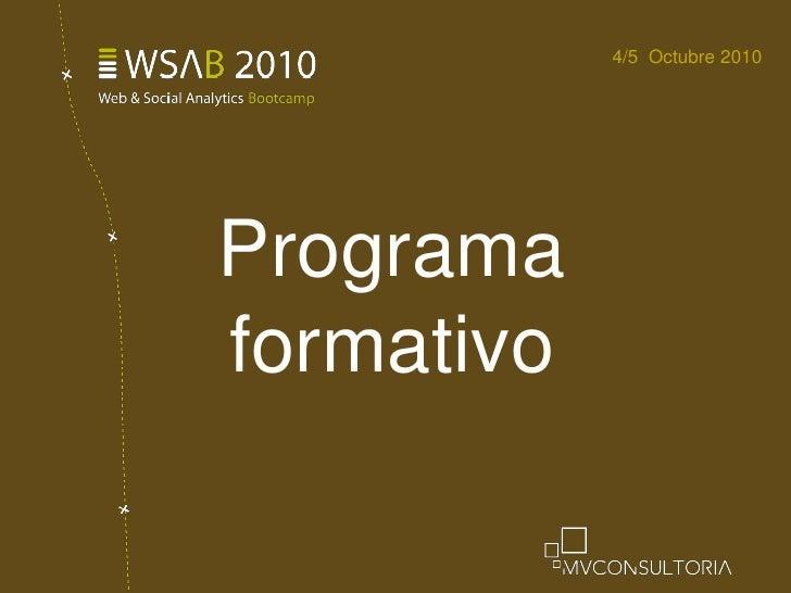 Programa formativo<br />