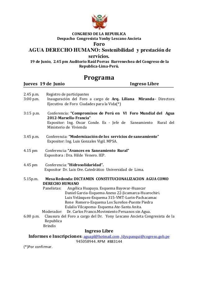 CONGRESO DE LA REPUBLICA Despacho Congresista Yonhy Lescano Ancieta Foro AGUA DERECHO HUMANO: Sostenibilidad y prestación ...