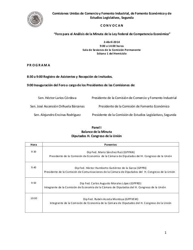 Comisiones Unidas de Comercio y Fomento Industrial, de Fomento Económico y de Estudios Legislativos, Segunda C O N V O C A...