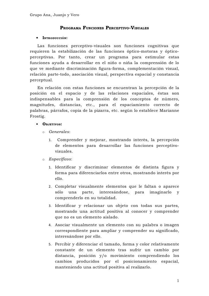 Grupo Ana, Juanjo y Vero                  PROGRAMA FUNCIONES PERCEPTIVO-VISUALES   •   INTRODUCCIÓN:    Las funciones perc...