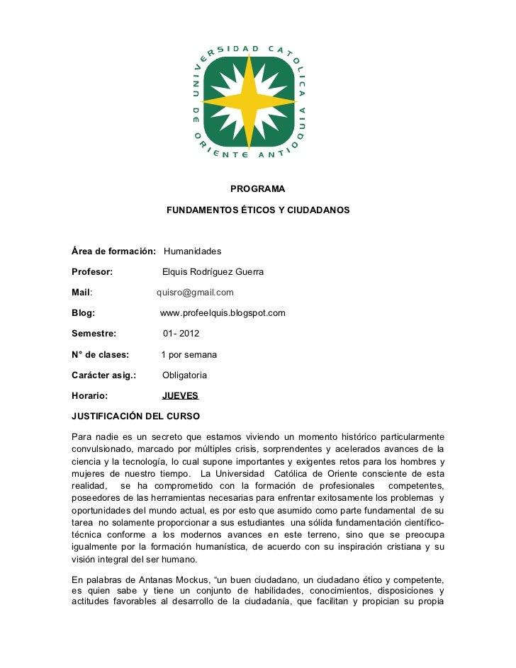 Programa fundamentos Éticos  Jueves 01-2012