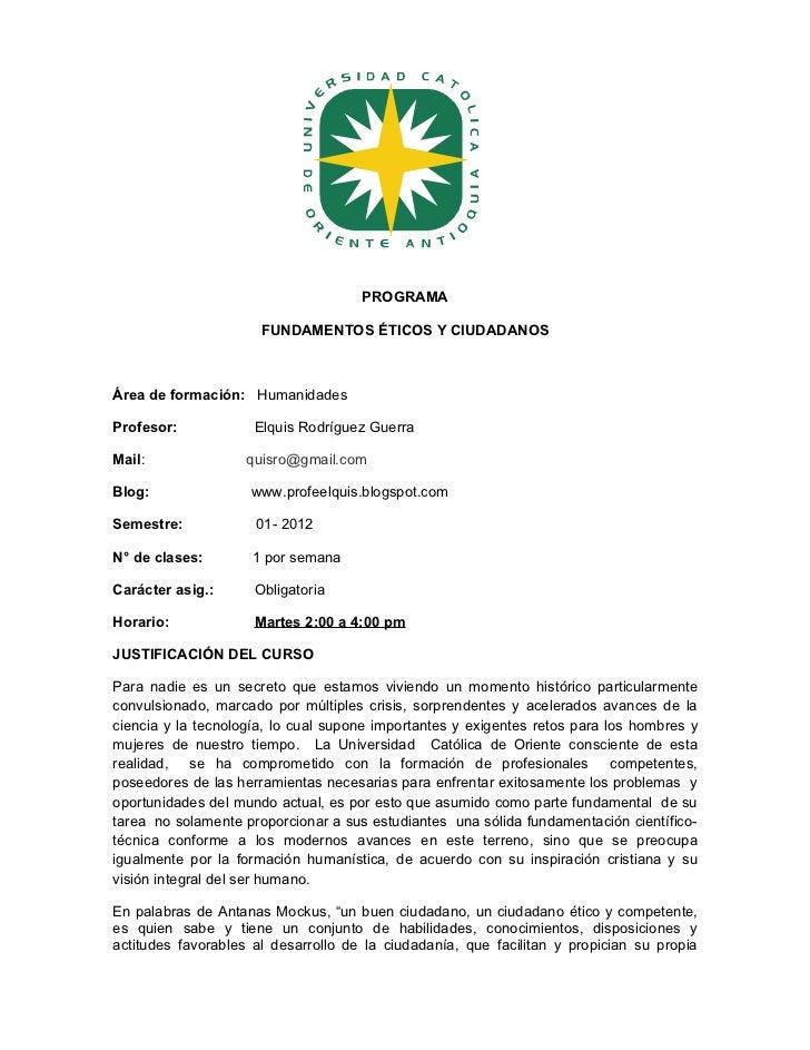 Programa fundamentos éticos  martes 01-2012