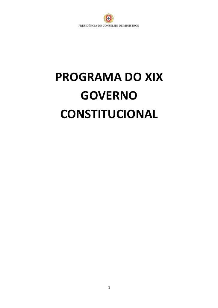 PROGRAMA DO XIX    GOVERNO CONSTITUCIONAL       1