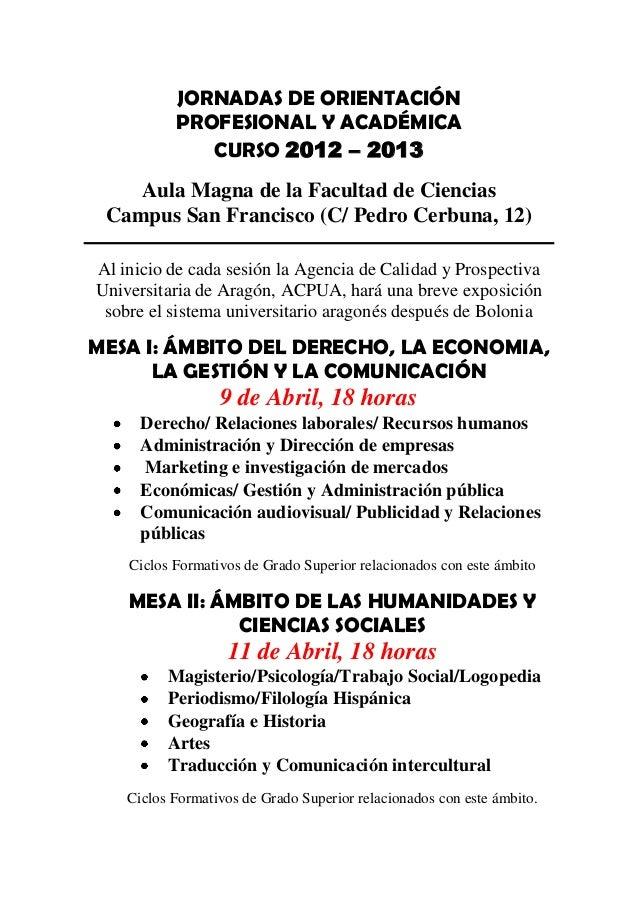 Programa General Jornadas De Orientación 2013