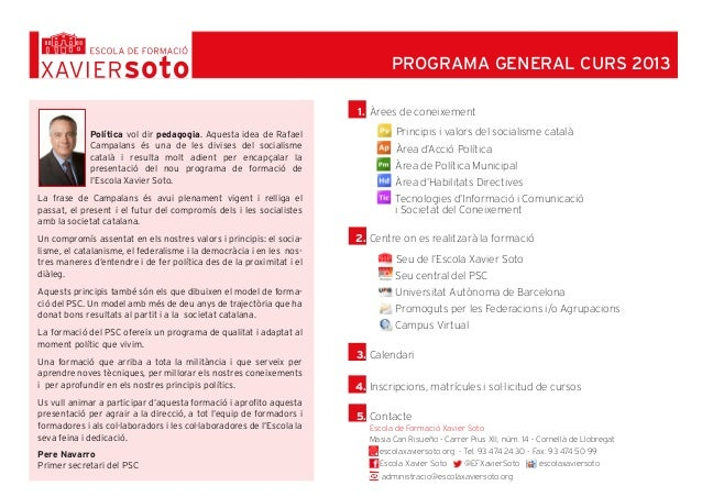 PROGRAMA GENERAL CURS 2013                                                                       1. Àrees de coneixement  ...