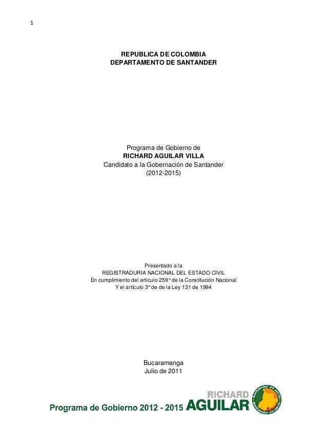 1              REPUBLICA DE COLOMBIA            DEPARTAMENTO DE SANTANDER                Programa de Gobierno de          ...