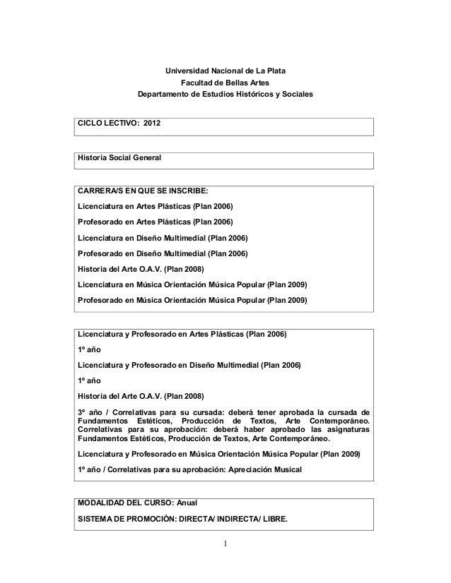 1Universidad Nacional de La PlataFacultad de Bellas ArtesDepartamento de Estudios Históricos y SocialesCICLO LECTIVO: 2012...