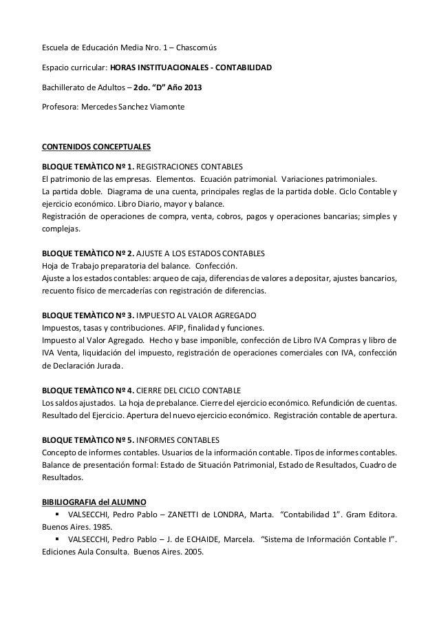 Escuela de Educación Media Nro. 1 – ChascomúsEspacio curricular: HORAS INSTITUACIONALES - CONTABILIDADBachillerato de Adul...
