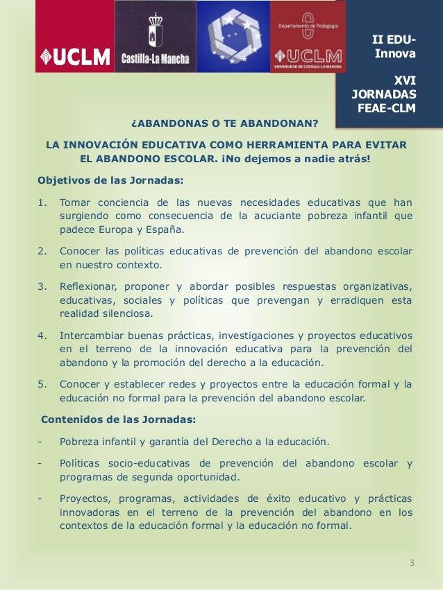 Programa II EDUInnova: Jornadas de innovación educativa XVI Jornadas Regionales FEAE-CLM Slide 3