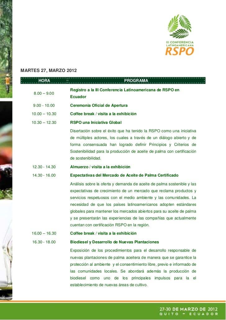 MARTES 27, MARZO 2012       HORA                                       PROGRAMA                    Registro a la III Confe...
