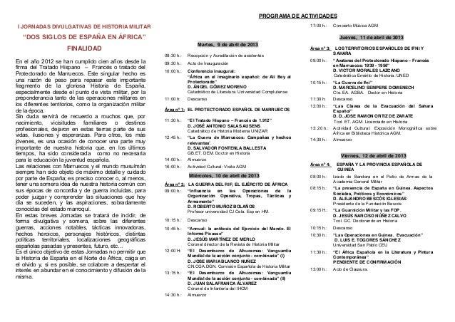 PROGRAMA DE ACTIVIDADESI JORNADAS DIVULGATIVAS DE HISTORIA MILITAR                                                        ...