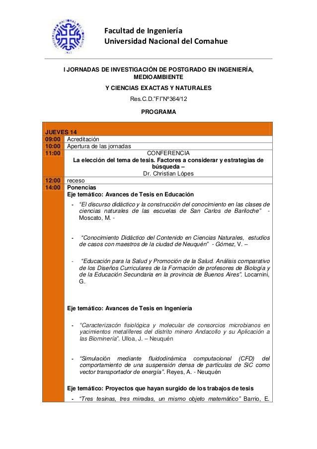 Facultad de Ingeniería Universidad Nacional del Comahue I JORNADAS DE INVESTIGACIÓN DE POSTGRADO EN INGENIERÍA, MEDIOAMBIE...