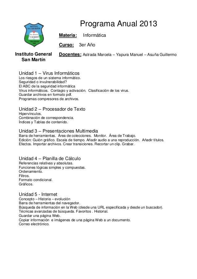 Programa Anual 2013                          Materia:       Informática                          Curso:       3er AñoInsti...