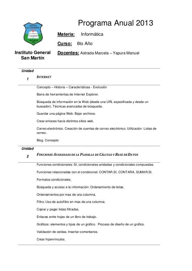 Programa Anual 2013                           Materia:            Informática                           Curso:         6to...