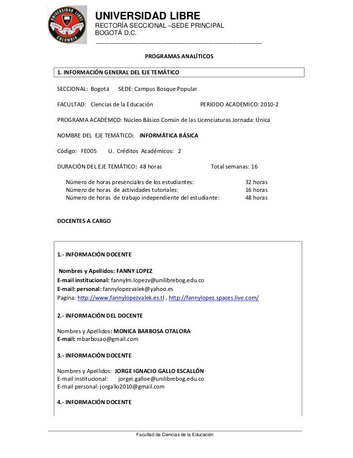 UNIVERSIDAD LIBRE              RECTORÍA SECCIONAL –SEDE PRINCIPAL              BOGOTÁ D.C.               _________________...