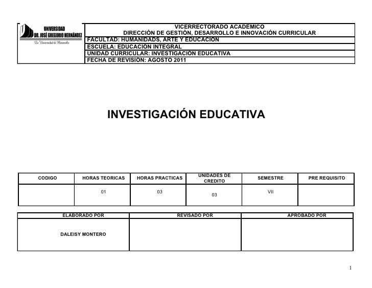 VICERRECTORADO ACADÉMICO                            DIRECCIÓN DE GESTIÓN, DESARROLLO E INNOVACIÓN CURRICULAR              ...