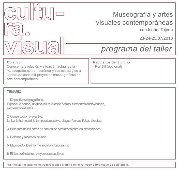 Museografía y artes                                                                          visuales contemporáneas      ...