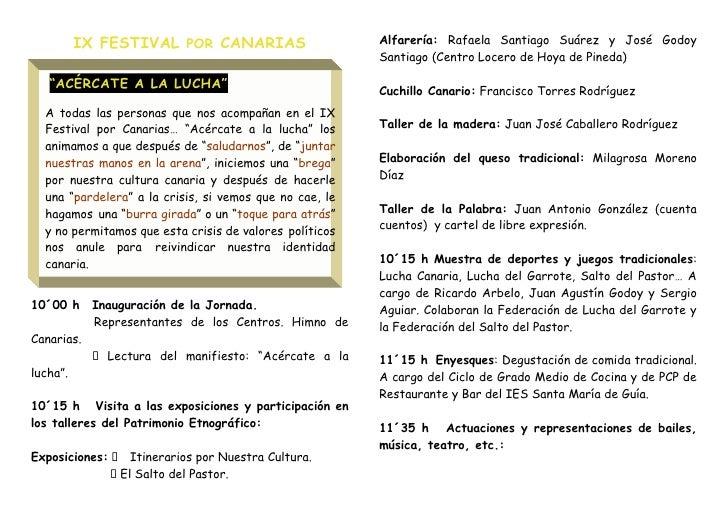 IX FESTIVAL POR CANARIAS                       Alfarería: Rafaela Santiago Suárez y José Godoy                            ...