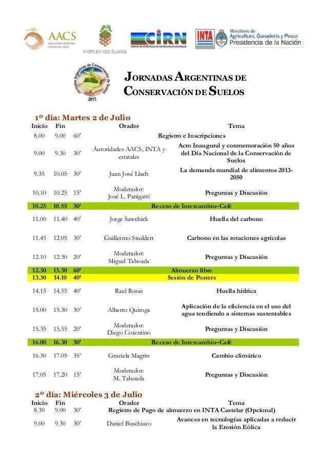 Instituto de SuelosJORNADAS ARGENTINAS DECONSERVACIÓN DE SUELOS1º día: Martes 2 de JulioInicio Fin Orador Tema8.00 9.00 60...
