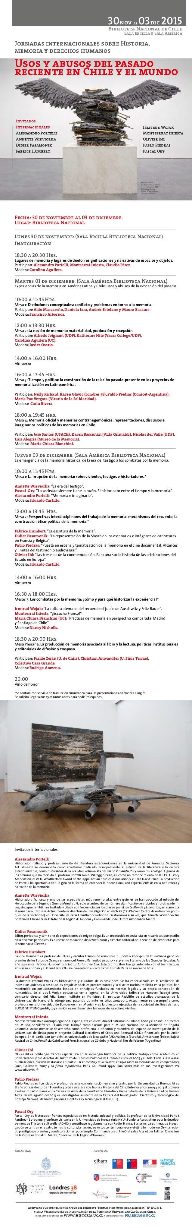Jornadas internacionales sobre Historia, memoria y derechos humanos Usos y abusos del pasado reciente en Chile y el mundo ...
