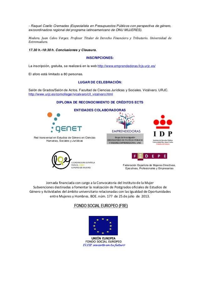 - Raquel Coello Cremades (Especialista en Presupuestos Públicos con perspectiva de género, excoordinadora regional del pro...