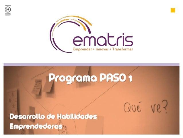 Desarrollo de Habilidades Emprendedoras Programa PASO 1