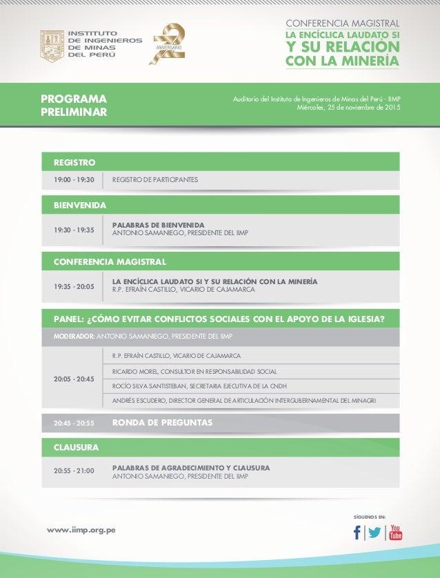 www.iimp.org.pe PROGRAMA PRELIMINAR REGISTRO 19:00 - 19:30 REGISTRO DE PARTICIPANTES CONFERENCIA MAGISTRAL PANEL: ¿CÓMO EV...