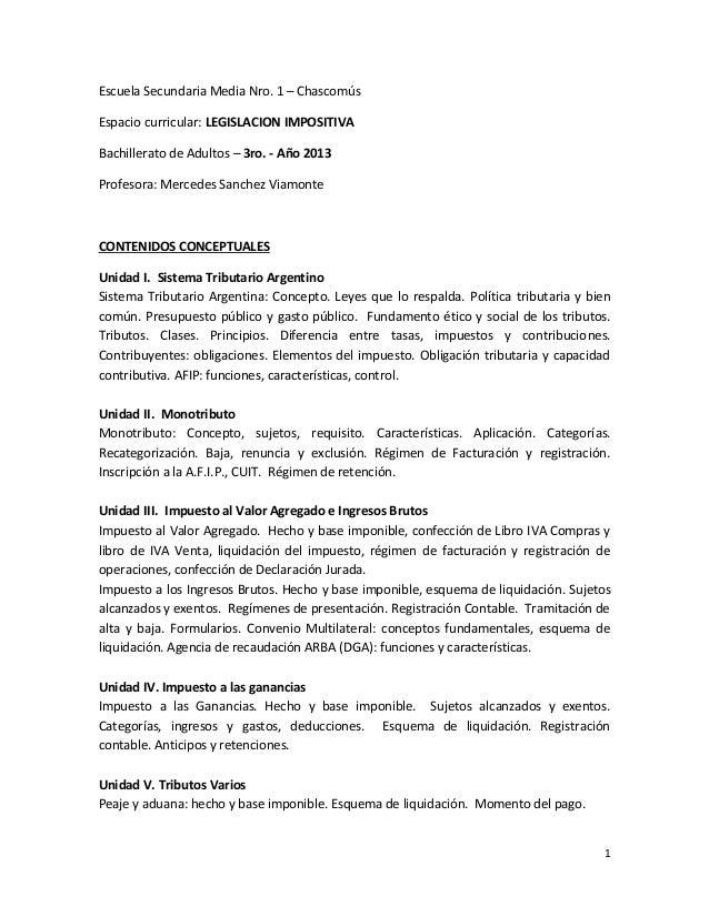 Escuela Secundaria Media Nro. 1 – ChascomúsEspacio curricular: LEGISLACION IMPOSITIVABachillerato de Adultos – 3ro. - Año ...