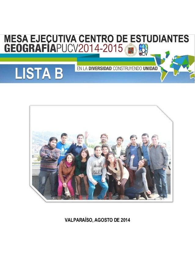 VALPARAÍSO, AGOSTO DE 2014 LISTA B
