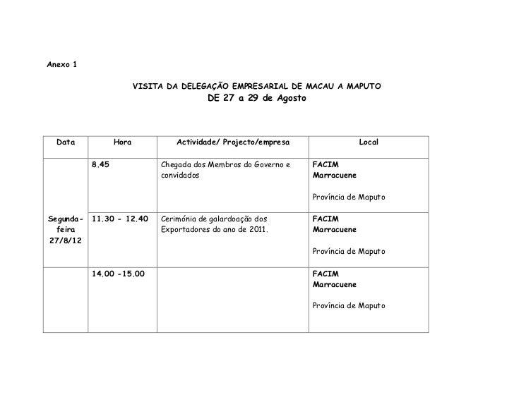Anexo 1                         VISITA DA DELEGAÇÃO EMPRESARIAL DE MACAU A MAPUTO                                         ...