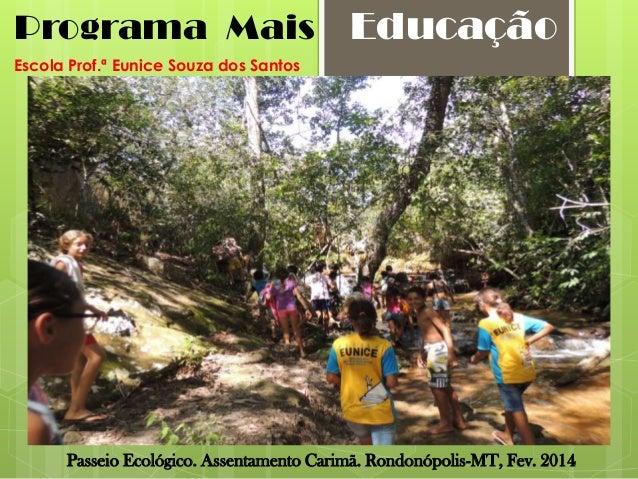 Programa Mais  Educação  Escola Prof.ª Eunice Souza dos Santos  Passeio Ecológico. Assentamento Carimã. Rondonópolis-MT, F...