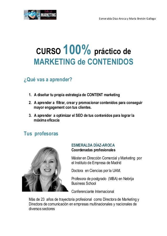 Programa  Marketing de Contenidos de Esmeralda Diaz-Aroca  y Maria Breton Gallego Slide 2