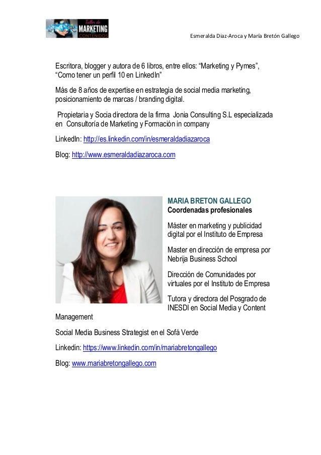 Programa  Marketing de Contenidos de Esmeralda Diaz-Aroca  y Maria Breton Gallego Slide 3