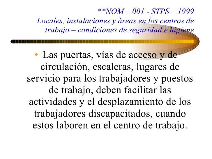 Programa nacional de pol tica laboral for Escaleras nom 001
