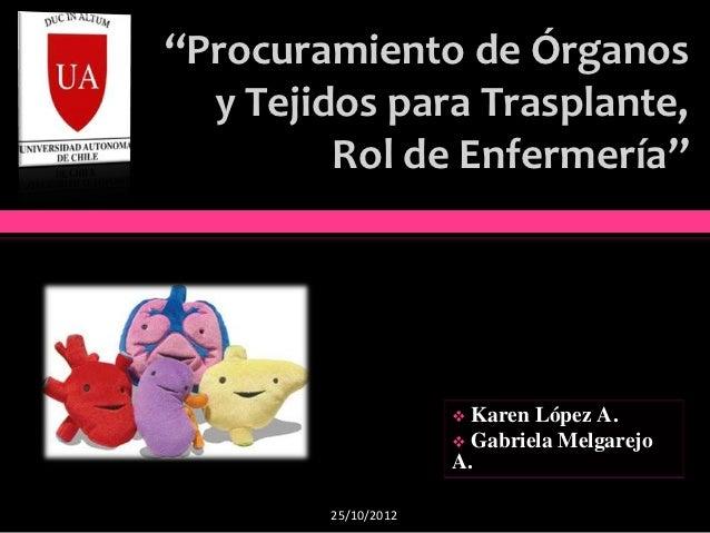 """""""Procuramiento de Órganos  y Tejidos para Trasplante,         Rol de Enfermería""""                      Karen López A.     ..."""