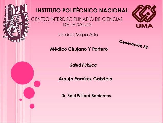 INSTITUTO POLITÉCNICO NACIONALCENTRO INTERDISCIPLINARIO DE CIENCIAS            DE LA SALUD           Unidad Milpa Alta    ...