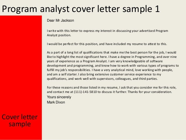 Nice Program Analyst Cover Letter