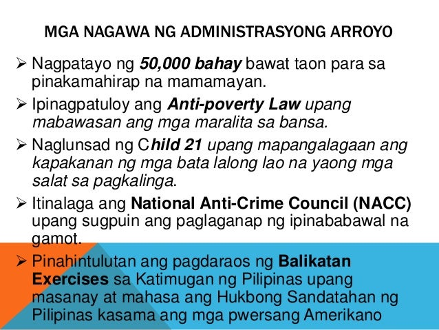 Mga nagawa ni dating pangulong gloria macapagal arroyo - Warsaw Local